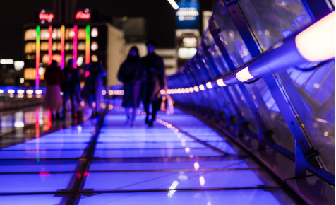 A lighted pathway
